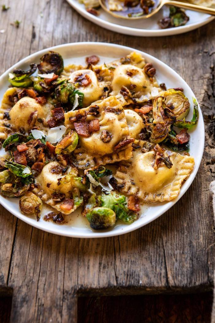 side angled photo of Brown Butter Brussels Sprout and Bacon Ravioli