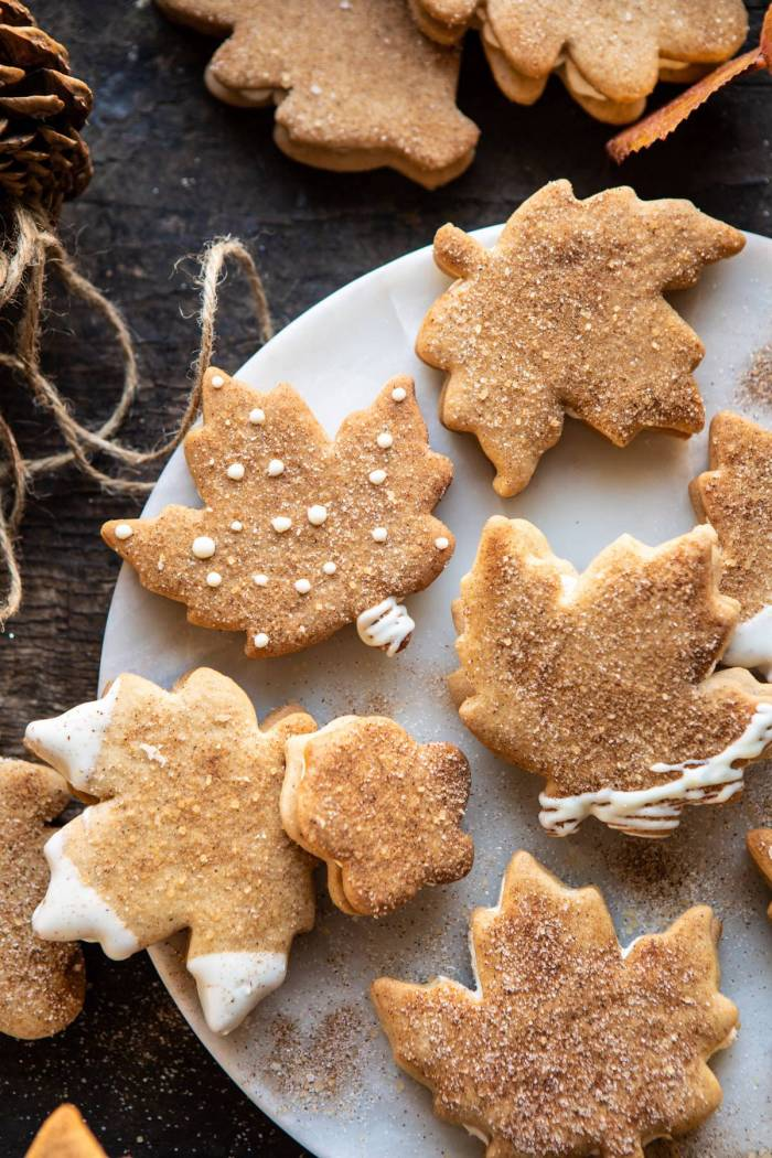overhead close up photo of Chai Spiced Maple Sugar Cookies with Browned Butter Frosting