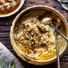 Creamed Spaghetti Squash with Browned Butter Walnuts | halfbakedharvest.com #spaghettisquash #healthy #thanksgiving #sage