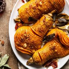Hasselback Butternut Squash with Sage Butter and Prosciutto Breadcrumbs | halfbakedharvest.com #thanksgiving #sidedishes #butternutsquash