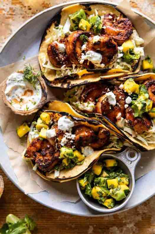 Chipotle BBQ Shrimp Tacos with Creamy Ranch Slaw | halfbakedharvest.com