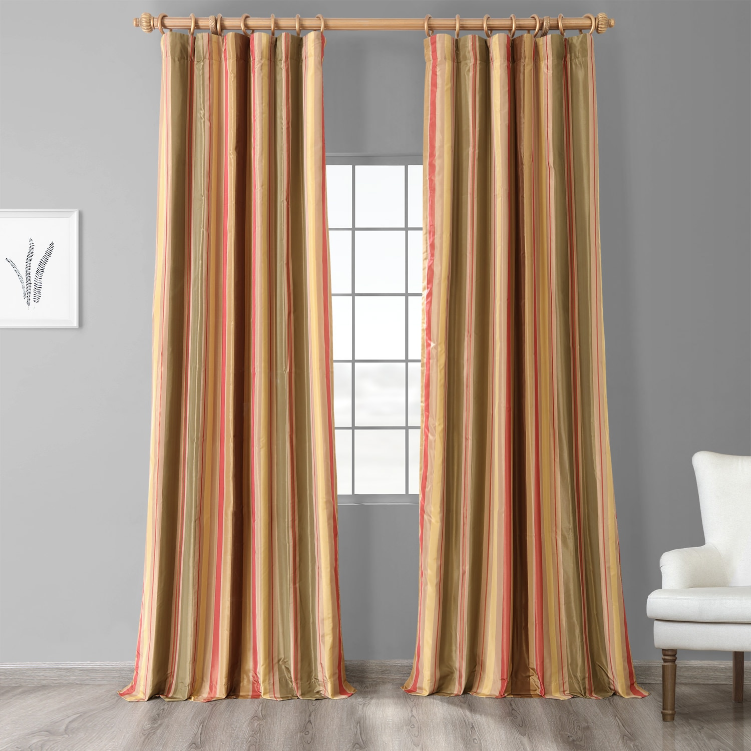 Mirage Striped Faux Silk Curtains Half Price Drapes