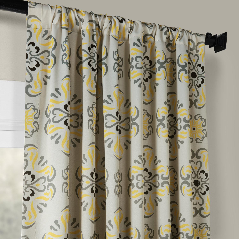 Soliel Yellow Grey Blackout Curtains Drapes