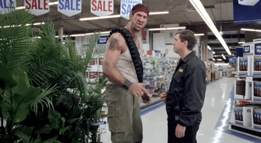 Man greeted by Rambo, the personification of HALLS defense.