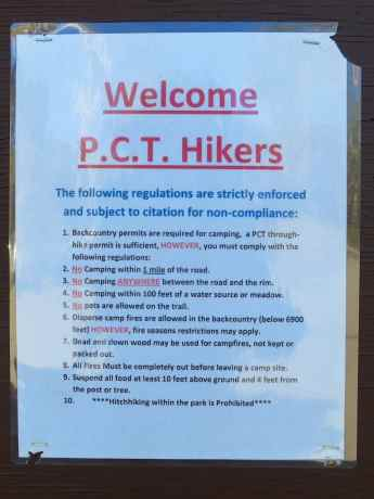 Crater Lake PCT Sign