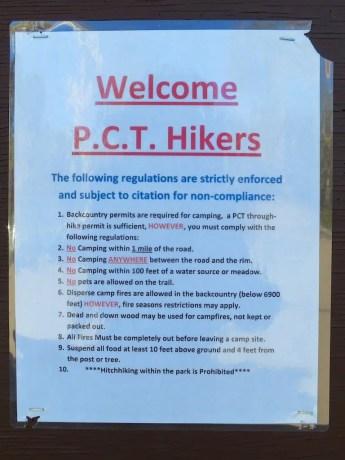 Crater Lake PCT Sign