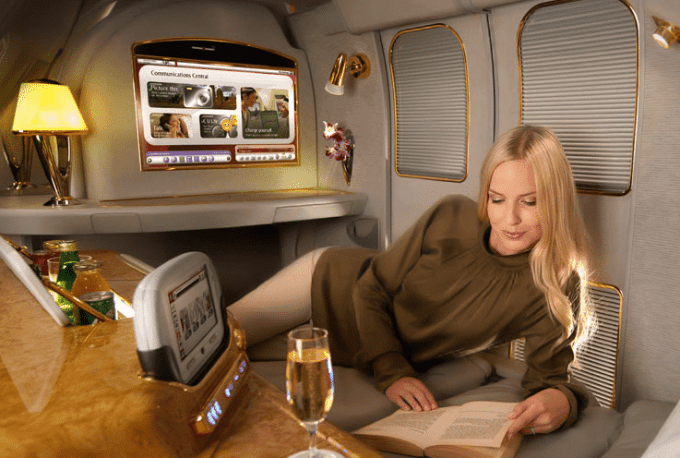 First Class Emirates Flight