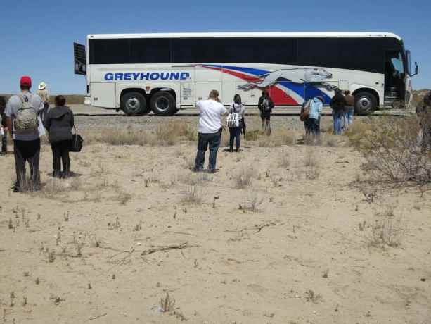 Broken Down Greyhound Bus With Passengers