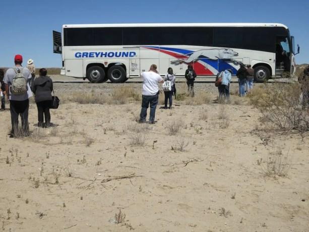 Broken Down Greyhound Bus With Passengers