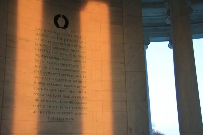 Washington DC Jefferson Memorial Writin
