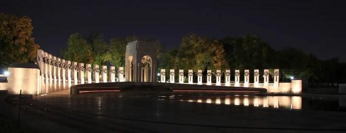 Washington DC WWII Memorial Night