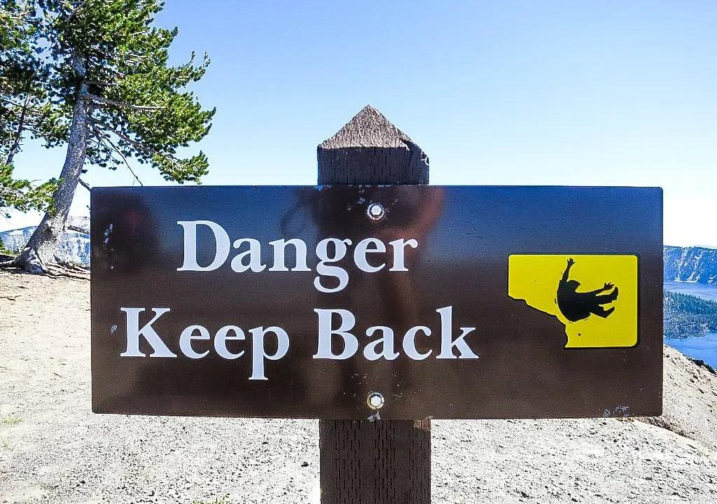 Crater Lake Danger Sign