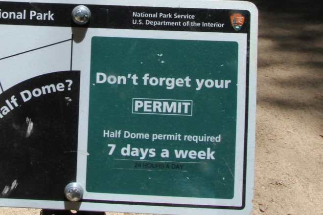 Half Dome Permit Sign Close