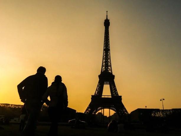 Eiffel Tower Silhouette Sunset