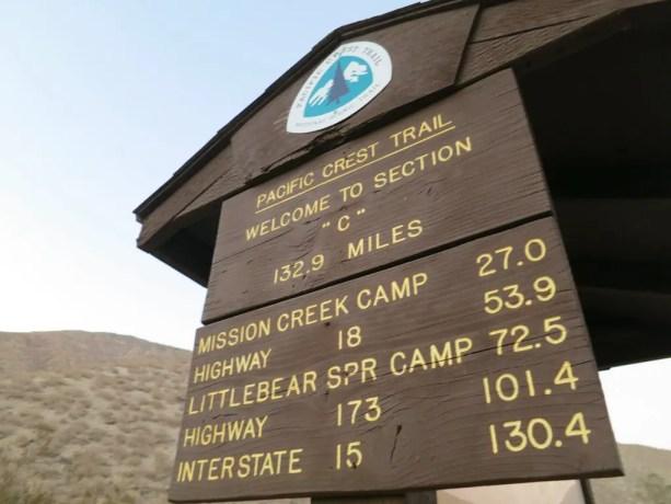 PCT Section C Desert Sign