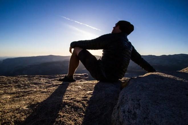 Self Pose Sierras Sunset