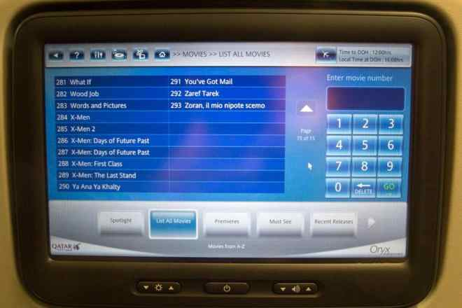 Qatar Airways Entertainment Screen