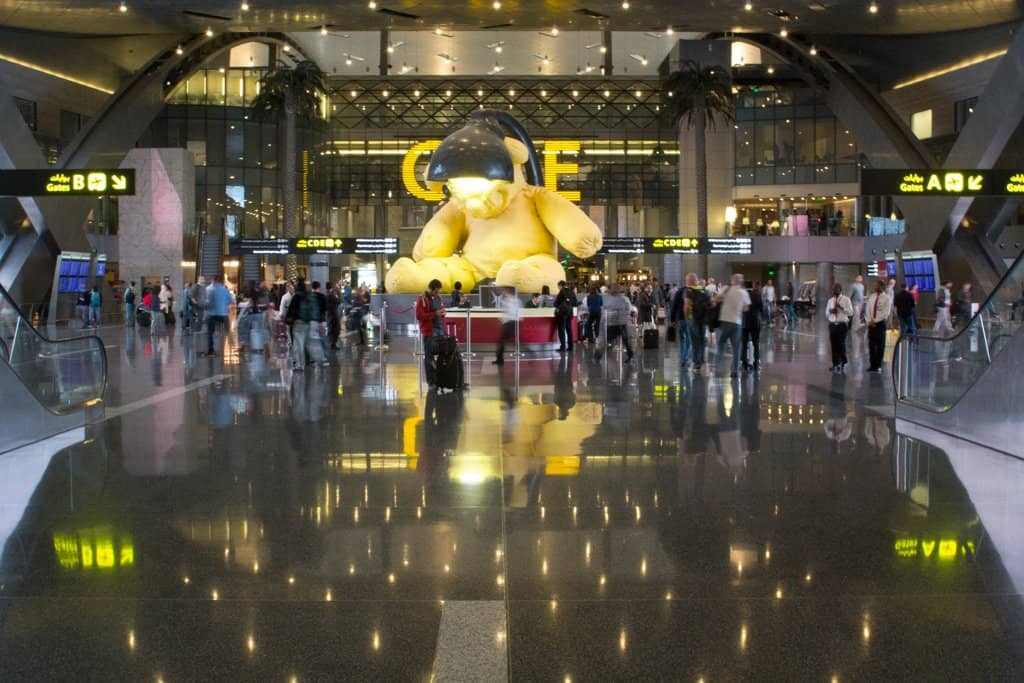 Qatar Doha Teddy Bear Sculpture Far