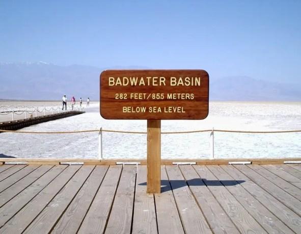 Badwater Basin Elevation Sign
