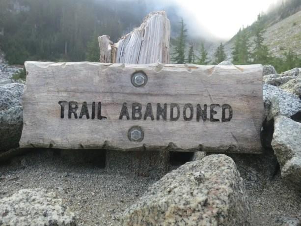 PCT Trail Abandoned WA Sign
