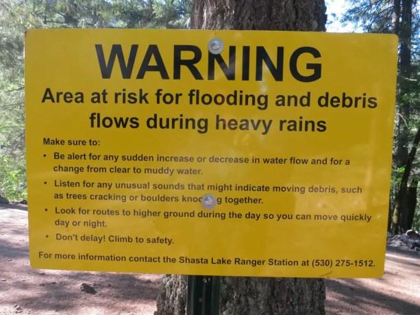 PCT Warning Flood Sign