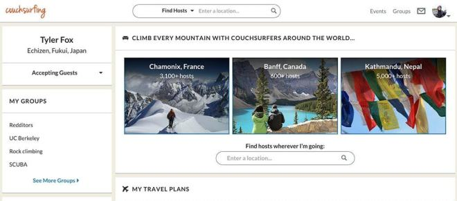 Couchsurfing Main Page