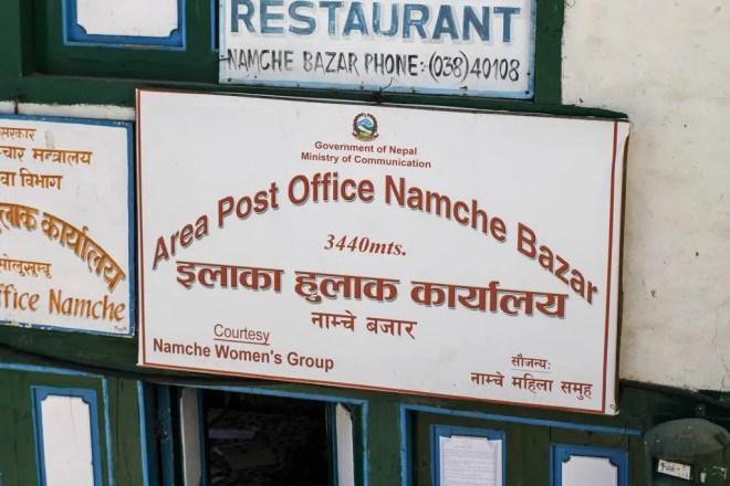 EBC Trek Namche Post Office Sign
