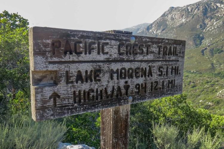PCT Lake Morena Sign
