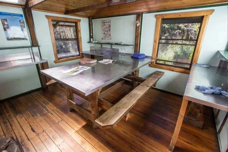 Frenchmans Cap Track Lake Vera Hut Table