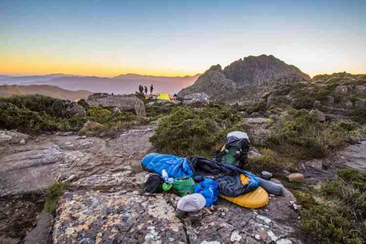 Tasmania Mount Anne Circuit Shelf Camp Sumrise
