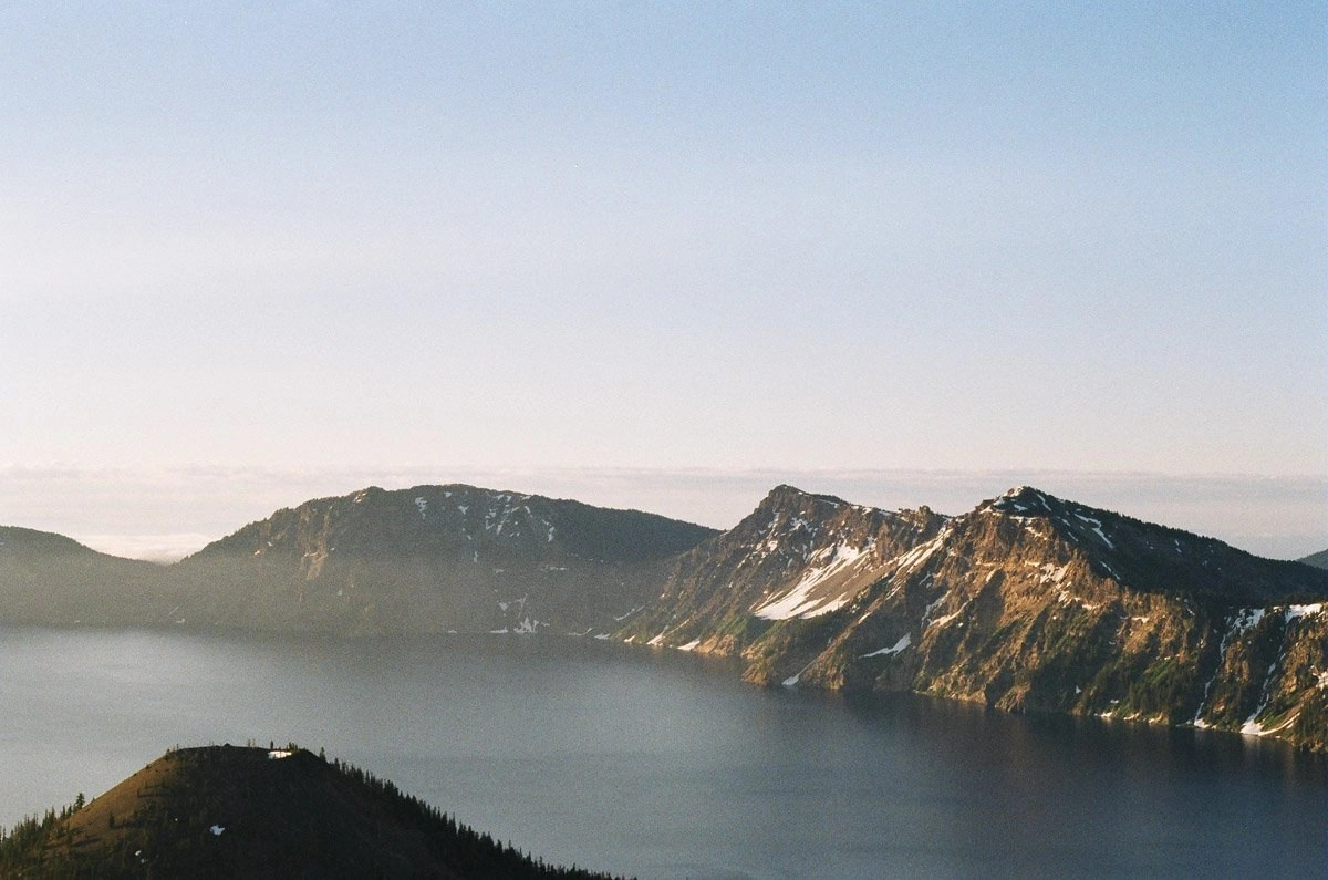 crater lake national park at sunrise on film