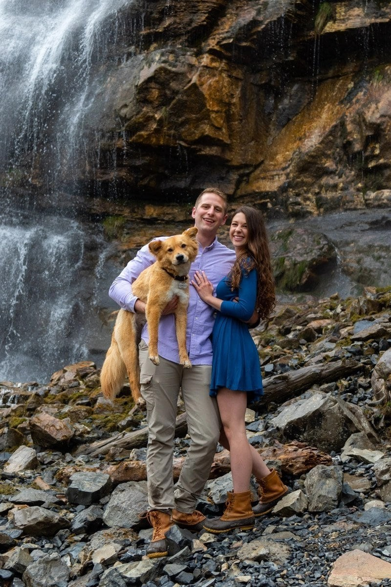 engagement at bridal veil falls