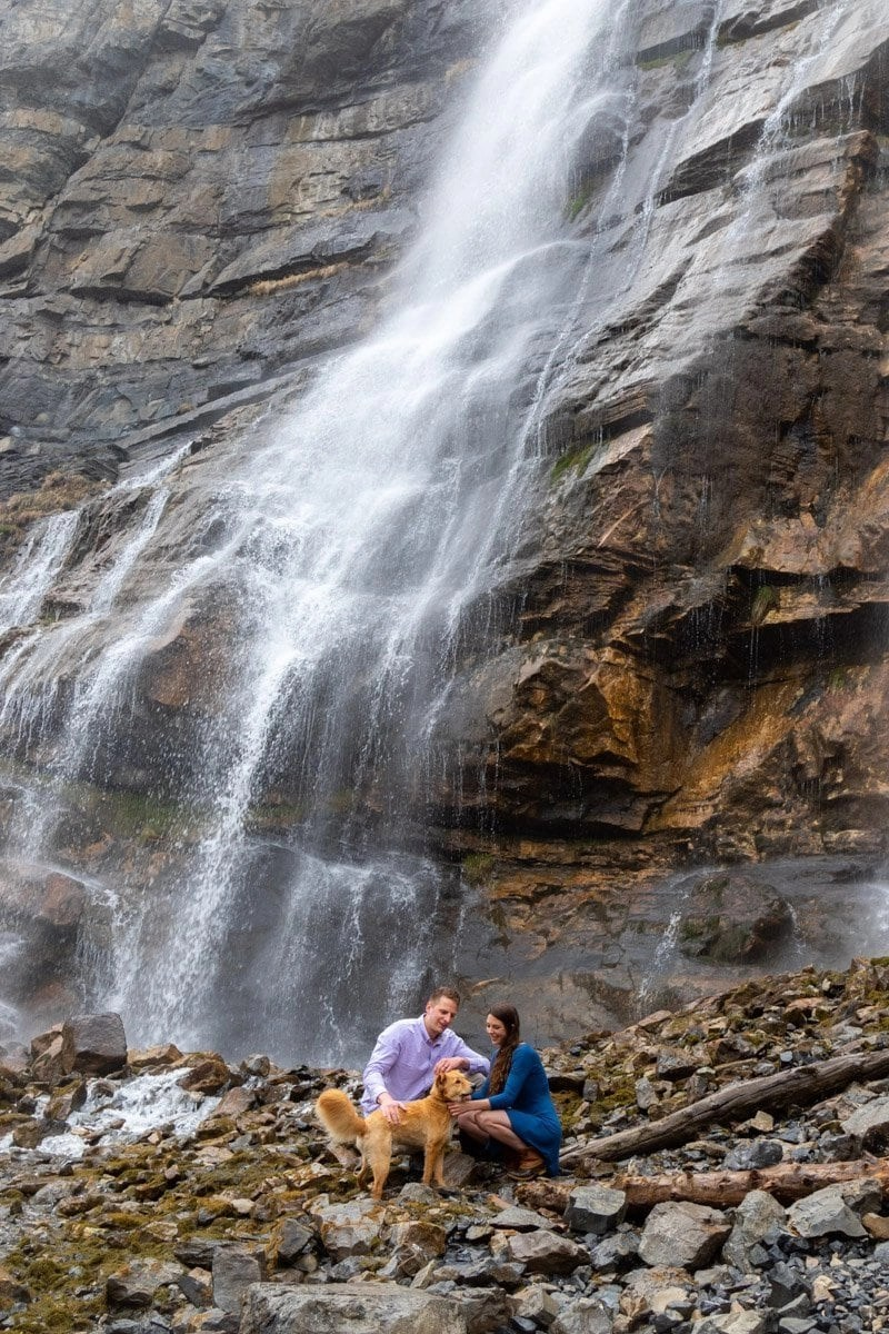 couple at bridal veil falls