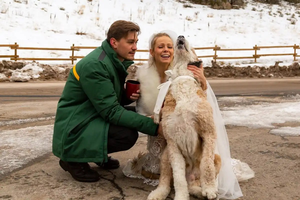 cute couple and their dog during their elopement
