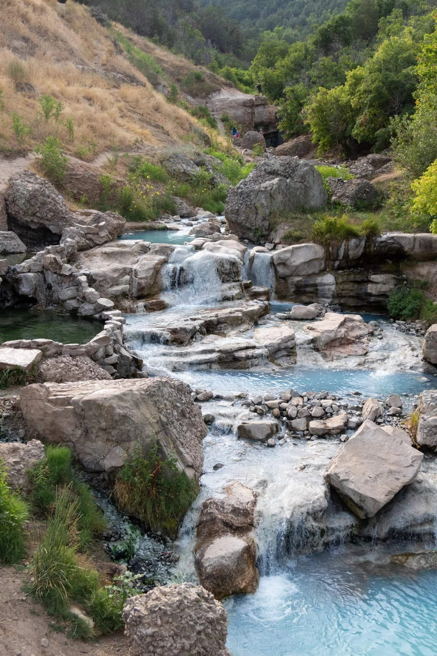 fifth water hot springs in spanish fork utah is absolutely incredible. go on a rad adventure and soak in crystal blue pools