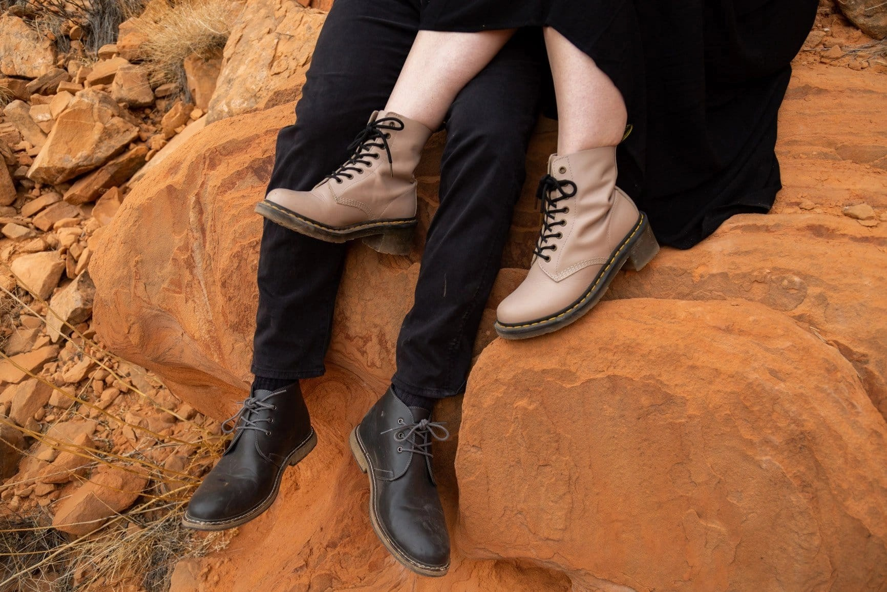a couple's stylish hiking boots during their adventure session