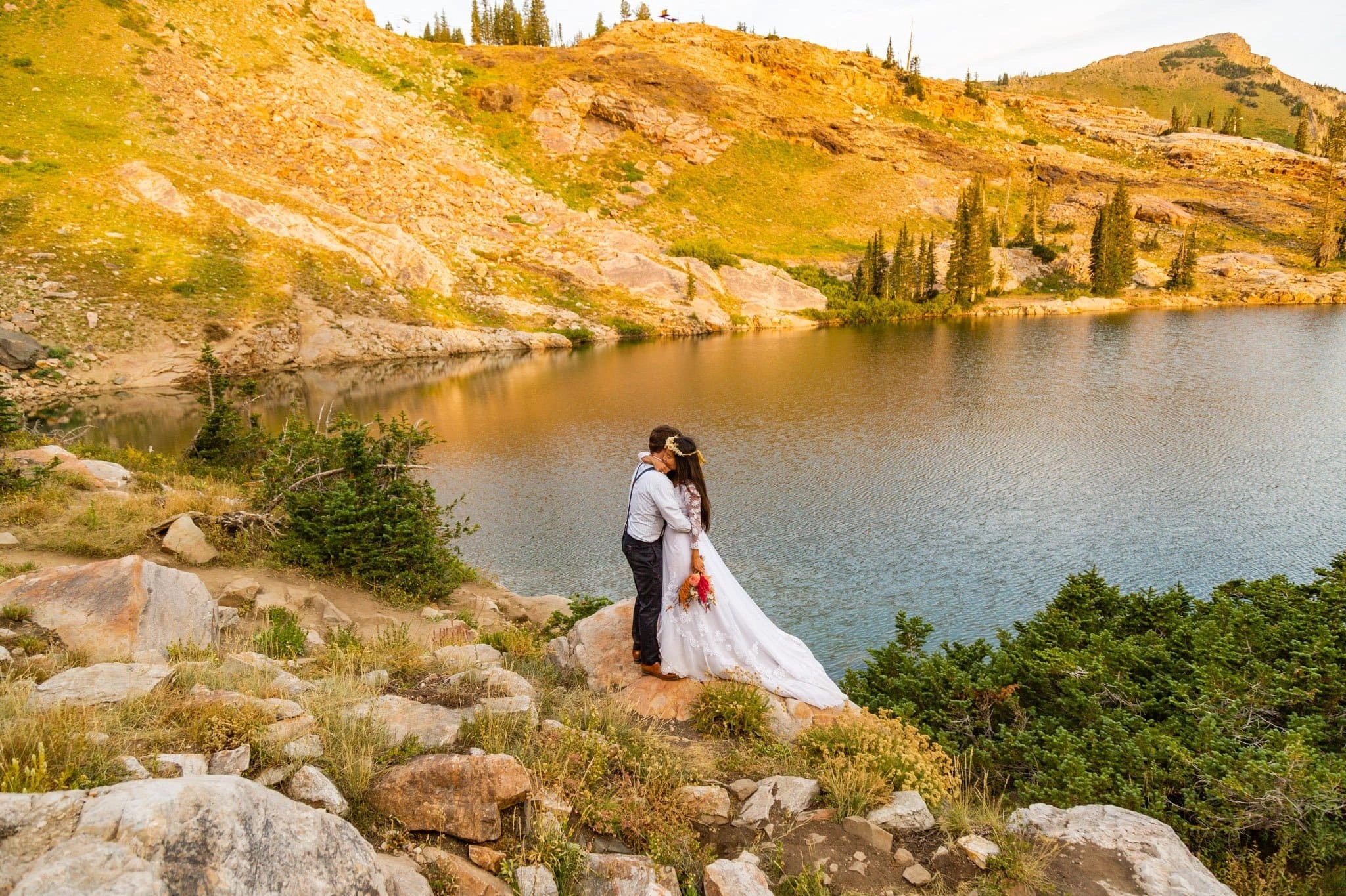 eloping by an alpine lake in the wasatch mountains of utah