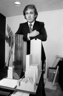 Mr. Trump in 1980 with a model of Trump Tower. Though it was built with 58 floors, he billed it as having 68 floors. Credit Don Hogan Charles/The New York Times