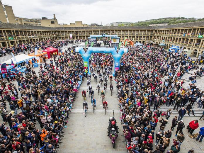 Tour de Yorkshire riders leave the Piece Hall in Halifax