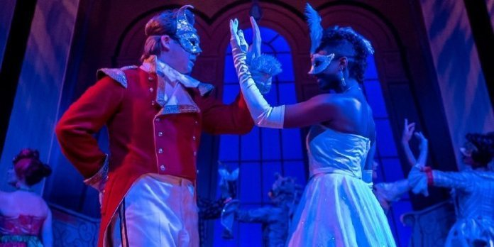Samantha Walkes as Cinderella and Ryan Brown as her Prince Charmin (no, that is not a typo) in the Neptune Theatre production of Cinderella. Photo by Stoo Metz.