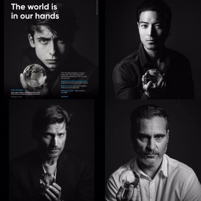"""Chase Tang (top right) joins other high-profile celebrities in the United Nations Environmental Programme's """"The World is in our Hands"""" initiative."""