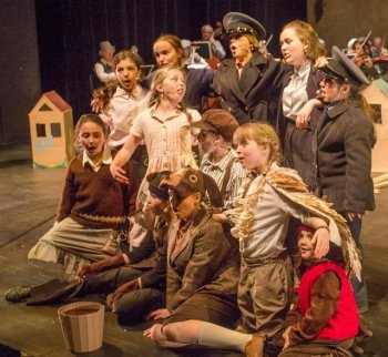The Halifax Theatre for Young People production of Brundibár features a cast of 15 students from across HRM, performing with musicians Scott Macmillan and members of Symphony Nova Scotia, under the baton of conductor Eszter Horváth. Photo by Terry Pulliam