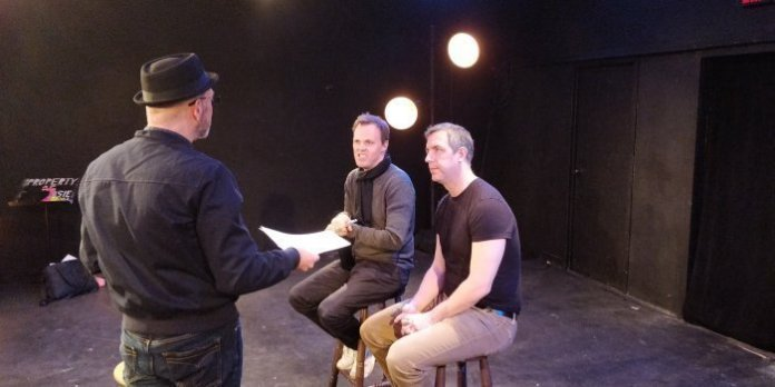 2b theatre's founding artistic co-directors Christian Barry and Anthony Black with Haliax Presents contributing editor at the Bus Stop Theatre during a recent interview. Photo by David Hannigan.
