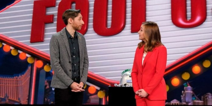 Vincenzo Ravina on the Penn & Teller Stage at the Rio Hotel in Las Vegas with host Alyson Hannigan during the taping of the CW Network show Penn & Teller: Fool Us. Ravina will appear on the August 3 episode. Check your local listings.