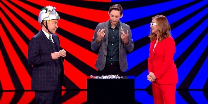 Vincenzo Ravina performs with Teller, of magic duo Penn & Teller, and host Alyson Hannigan on the CW Network show Penn & Teller: Fool Us. The episode airs on August 3 (check your local listings).