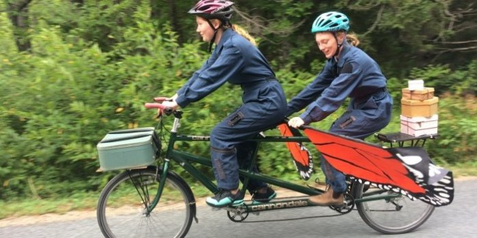 Lily Falk and Franziska Glen perform in A Tale on Two Wheels, a free performance for kids and families delivered by tandem bicycle to local parks.