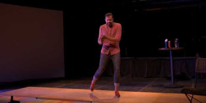 A screenshot from the live recording of One Step at a Time: A Father's Journey, now available as part of Neptune Theatre's Neptune Theatre at Home program.