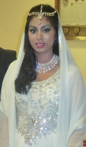 Asian wedding registry white gown with crystals