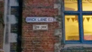 The Bengali and English sign for Brick Lane