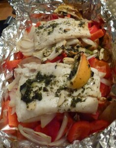 Baked fish with lemon and peppers